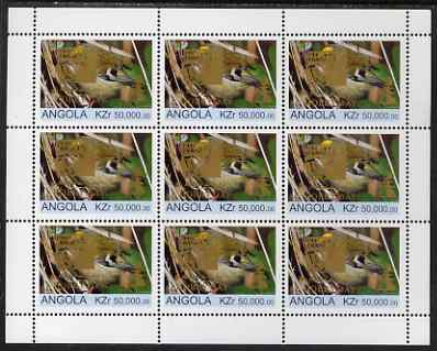 Angola 1999 Birds 50,000k from Flora & Fauna def set complete perf sheet of 9 each opt