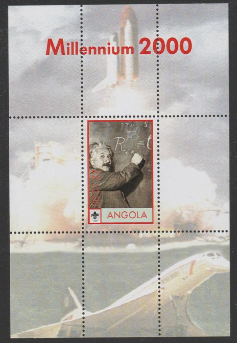 Angola 2000 Millennium 2000 - Einstein perf s/sheet (background shows Shuttle, Concorde & Scout Logo) unmounted mint with title at top