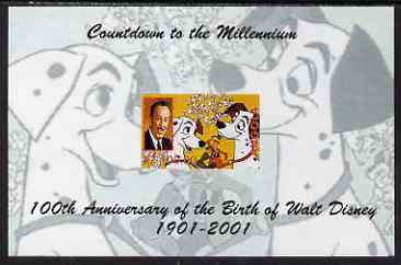 Angola 1999 Countdown to the Millennium - Birth Centenary of Walt Disney imperf s/sheet #2 unmounted mint. Note this item is privately produced and is offered purely on its thematic appeal