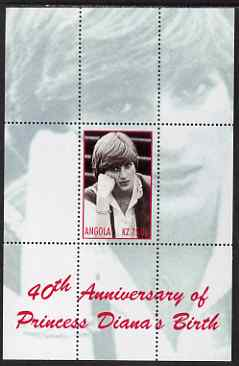 Angola 2002 40th Anniversary of Birth of Princess Diana perf s/sheet #7 (resting her head on her hand) unmounted mint. Note this item is privately produced and is offered...