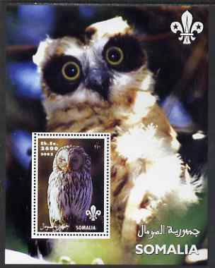 Somalia 2002 Owls #2 perf s/sheet with Scouts Logo, unmounted mint