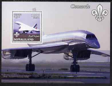 Somaliland 2002 Concorde perf m/sheet with Scout Logo unmounted mint