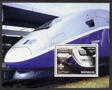 Somalia 2002 SNCF High Speed Train #1 perf m/sheet with Scout Logo unmounted mint