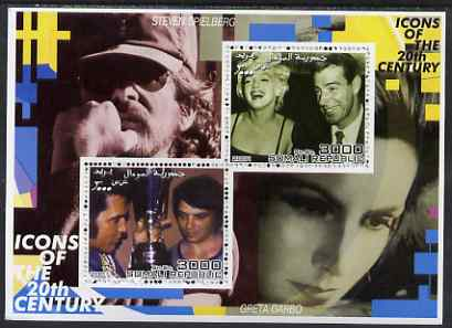Somalia 2001 Icons of the 20th Century #03 - Elvis & Marilyn perf sheetlet containing 2 values with Spielberg & Greta Garbo in background unmounted mint
