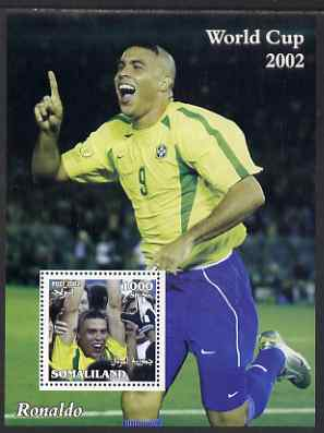 Somaliland 2002 Football World Cup perf s/sheet (Ronaldo) unmounted mint. Note this item is privately produced and is offered purely on its thematic appeal