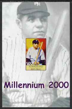 Somaliland 2001 Millennium series - Baseball Stars #1 Babe Ruth imperf m/sheet unmounted mint. Note this item is privately produced and is offered purely on its thematic appeal