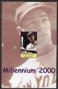 Somaliland 2001 Millennium series - Baseball Stars #4 Joe Dimaggio imperf m/sheet unmounted mint. Note this item is privately produced and is offered purely on its thematic appeal