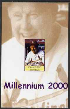 Somaliland 2001 Millennium series - Baseball Stars #6 Red Schoendienst imperf m/sheet unmounted mint. Note this item is privately produced and is offered purely on its thematic appeal