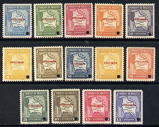 Bolivia 1935 Maps 'Postage' set of 14 each with security punch hole and overprinted SPECIMEN (unmounted mint ex ABNCo archives) SG 284-97