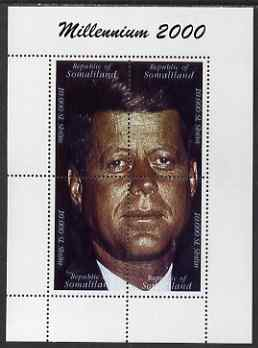 Somaliland 2000 Millennium 2000 John Kennedy composite perf sheetlet containing 4 values unmounted mint