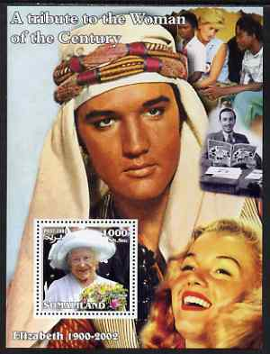 Somaliland 2002 A Tribute to the Woman of the Century #06 - The Queen Mother perf m/sheet also showing Walt Disney, Diana, Marilyn & Elvis, unmounted mint. Note this item is privately produced and is offered purely on its thematic appeal