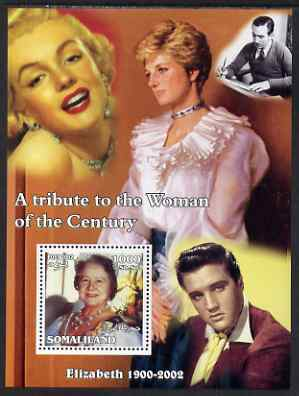 Somaliland 2002 A Tribute to the Woman of the Century #07 - The Queen Mother perf m/sheet also showing Walt Disney, Diana, Marilyn & Elvis, unmounted mint