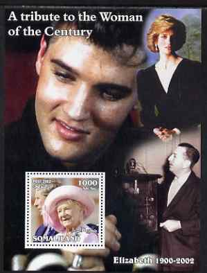 Somaliland 2002 A Tribute to the Woman of the Century #08 - The Queen Mother perf m/sheet also showing Walt Disney, Diana & Elvis, unmounted mint. Note this item is privately produced and is offered purely on its thematic appeal