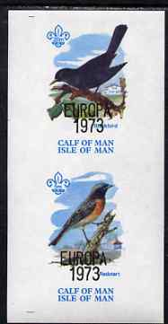 Calf of Man 1973 Europa opt'd on Birds imperf m/sheet (showing 5m Redstart & 20m Blackbird) unmounted mint with Scout logo, Rosen CA313MS, stamps on europa, stamps on birds, stamps on blackbirds, stamps on scouts