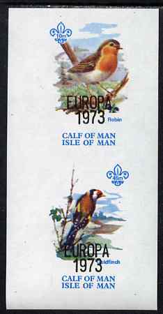 Calf of Man 1973 Europa opt'd on Birds imperf m/sheet (showing 10m Robin & 45m Goldfinch) unmounted mint with Scout logo, Rosen CA314MS