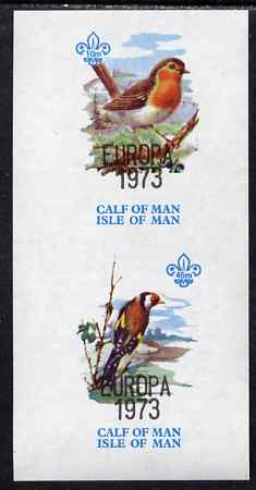 Calf of Man 1973 Europa opt'd on Birds imperf m/sheet (showing 10m Robin & 45m Goldfinch - from first printing without the birds' names) unmounted mint with Scout logo, Rosen CA314MS