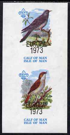 Calf of Man 1973 Europa opt'd on Birds imperf m/sheet (showing 12m Cuckoo & 50m Nightingale - from first printing without the birds' names) unmounted mint with Scout logo, Rosen CA315MS
