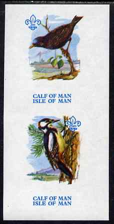 Calf of Man 1973 Birds imperf m/sheet (showing 3m Starling & 25m Woodpecker - from first printing without the birds' names) unmounted mint with Scout logo, Rosen CA312MS