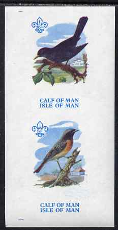 Calf of Man 1973 Birds imperf m/sheet (showing 5m Redstart & 20m Blackbird - from first printing without the birds