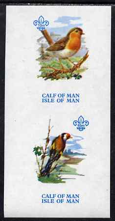 Calf of Man 1973 Birds imperf m/sheet (showing 10m Robin & 45m Goldfinch - from first printing without the birds' names) unmounted mint with Scout logo, Rosen CA314MS