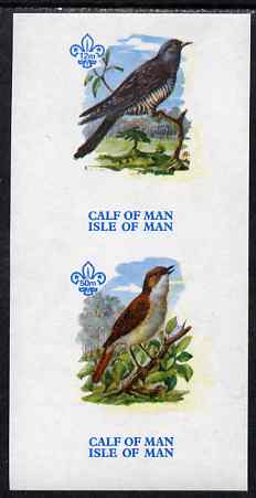 Calf of Man 1973 Birds imperf m/sheet (showing 12m Cuckoo & 50m Nightingale - from first printing without the birds' names) unmounted mint with Scout logo, Rosen CA315MS