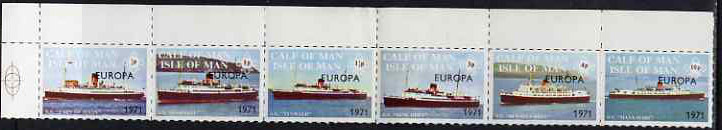 Calf of Man 1971 Europa opt'd on Ships rouletted strip of 6 unmounted mint (Rosen CA201-6