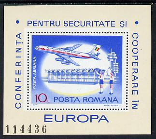 Rumania 1977 European Security m/sheet  (Airliner) unmounted mint Mi 143 (SG MS 4303)