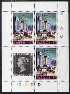 Barbuda 1975 Death Centenary of Rowland Hill perf sheetlet #4 containing 3 x $2 plus 1d black label unmounted mint, as SG 450