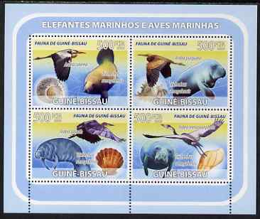 Guinea - Bissau 2008 Sea Cows & Sea Birds (with seashells) perf sheetlet containing 4 values unmounted mint