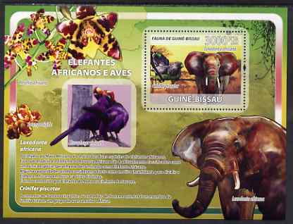 Guinea - Bissau 2008 African Elephants and Birds (with orchids) perf souvenir sheet unmounted mint