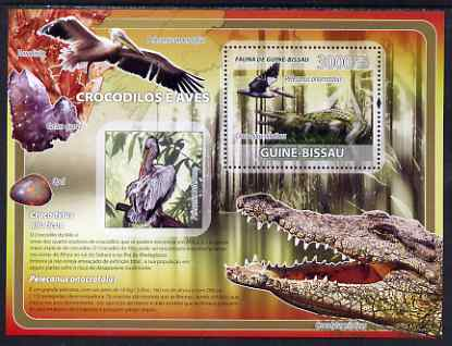 Guinea - Bissau 2008 Crocodiles & Pelicans (with minerals) perf souvenir sheet unmounted mint