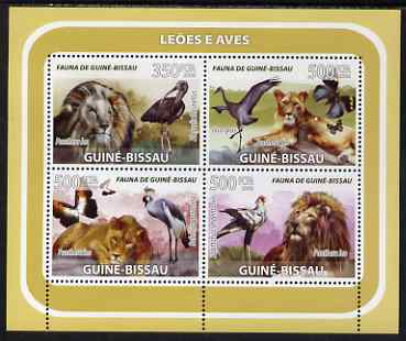 Guinea - Bissau 2008 Lions & Birds (with butterflies) perf sheetlet containing 4 values unmounted mint