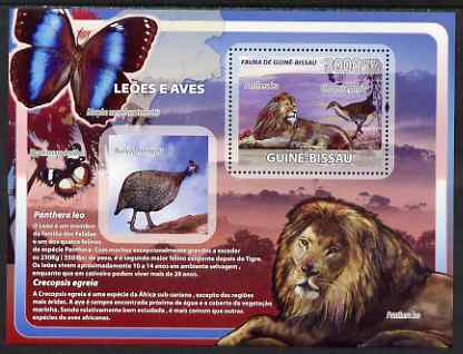Guinea - Bissau 2008 Lions & Birds (with butterflies) perf souvenir sheet unmounted mint