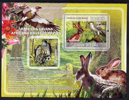 Guinea - Bissau 2008 Rabbits & Birds of African Savanna perf souvenir sheet unmounted mint