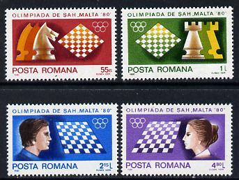 Rumania 1980 Chess Olympiad set of 4, Mi 3747-50
