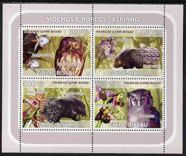 Guinea - Bissau 2008 Owls and Porcupines (with orchids) perf sheetlet containing 4 values unmounted mint
