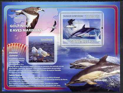 Guinea - Bissau 2008 Dolphins & Sea Birds (with seashells) perf souvenir sheet unmounted mint