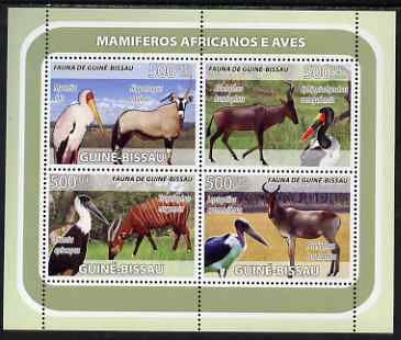 Guinea - Bissau 2008 Antelope and Birds perf sheetlet containing 4 values unmounted mint