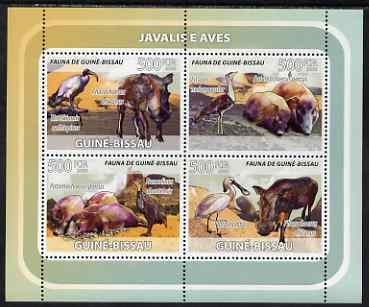 Guinea - Bissau 2008 Wild Boar and Birds perf sheetlet containing 4 values unmounted mint