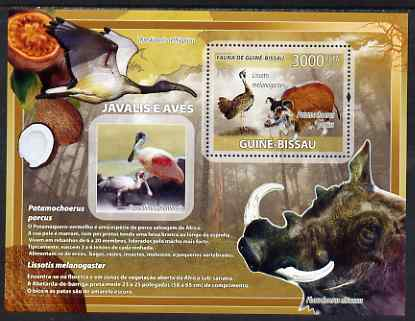 Guinea - Bissau 2008 Wild Boar and Birds perf souvenir sheet unmounted mint