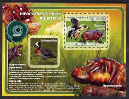 Guinea - Bissau 2008 Hippopotamus and Birds (with minerals) perf souvenir sheet unmounted mint