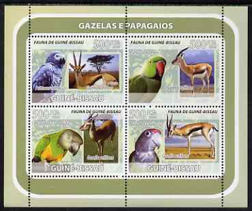 Guinea - Bissau 2008 Gazelles and Birds (Parrots) perf sheetlet containing 4 values unmounted mint, stamps on animals, stamps on antelope, stamps on gazelles, stamps on birds, stamps on parrotsd