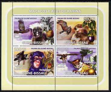 Guinea - Bissau 2008 Primates and Birds (with fruit) perf sheetlet containing 4 values unmounted mint