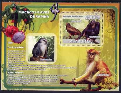 Guinea - Bissau 2008 Primates and Birds (with fruit) perf souvenir sheet unmounted mint, stamps on animals, stamps on primates, stamps on monkeys, stamps on apes, stamps on birds, stamps on fruit, stamps on birds of prey, stamps on maps
