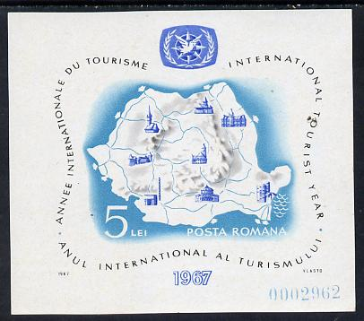 Rumania 1967 Int Tourist Year m/sheet (Map & ITY Emblem) unmounted mint, SG MS3480, Mi BL 63