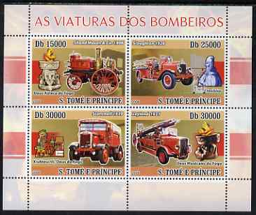St Thomas & Prince Islands 2008 Fire Engines perf sheetlet containing 4 values unmounted mint
