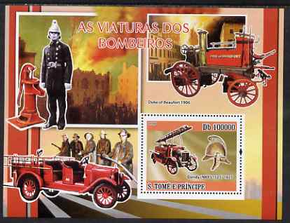 St Thomas & Prince Islands 2008 Fire Engines perf souvenir sheet unmounted mint