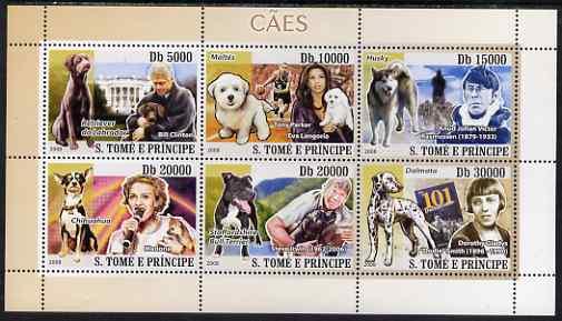 St Thomas & Prince Islands 2008 Dogs and their Masters (Bill Clinton & Labrador, Tony Parker/Eva Langoria & Maltese Terrier, Knud Johan Victor & Husky, Modonna & Chihuahu...
