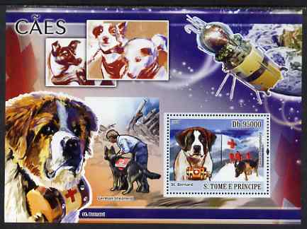 St Thomas & Prince Islands 2008 Dogs and their Masters perf souvenir sheet unmounted mint