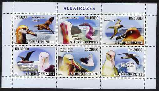 St Thomas & Prince Islands 2008 Albatross perf sheetlet containing 6 values unmounted mint